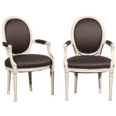 Pair of 20th Century Painted Louis XVI Style Armchairs