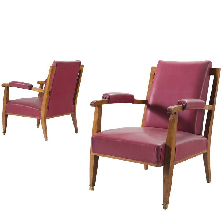 Jules Leleu Pair Of Pink Faux Leather Armchairs 1