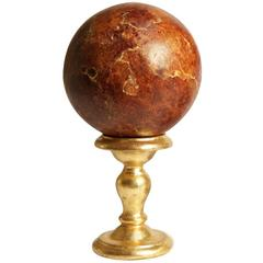 Elegant Hand-Painted Wood Globe