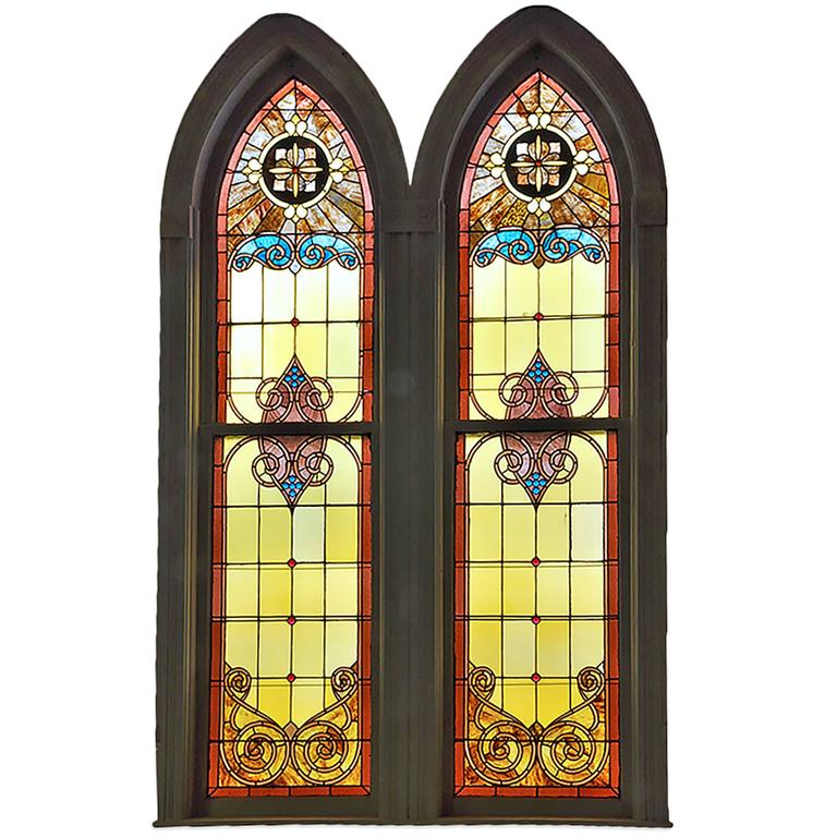 Large Arched Stained Glass Church Window Two Available For Sale At