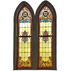 Large Arched Stained Glass Church Window - Two Available
