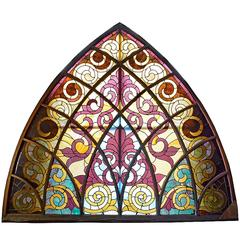 Large Arched Victorian Stained Glass Window