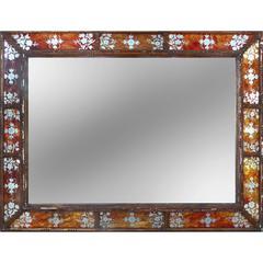 19th Century Verre Églomisé and Wood Frame Mirror
