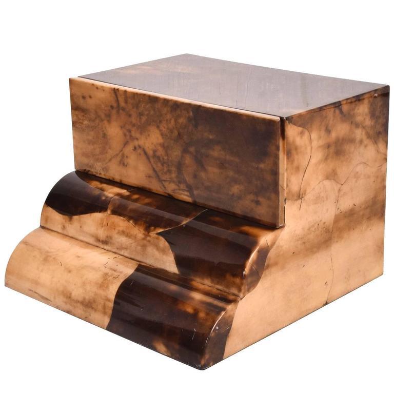Goatskin Bed Side Table For Sale