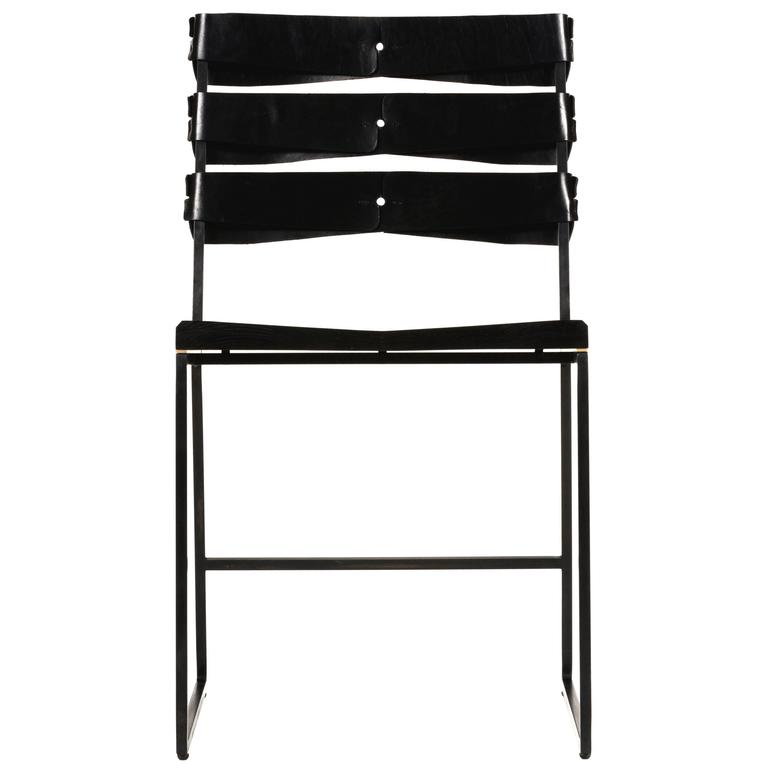 Chair 5 Diner with Blackened Steel, Ebonized Ash Seat with Brass Inlay, Leather For Sale