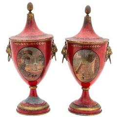 Pair of Regency Painted Lead Covered Urns, 19th Century
