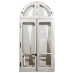 French Arched Window from an Orangerie with Original Soft Grey Paint, circa 1850