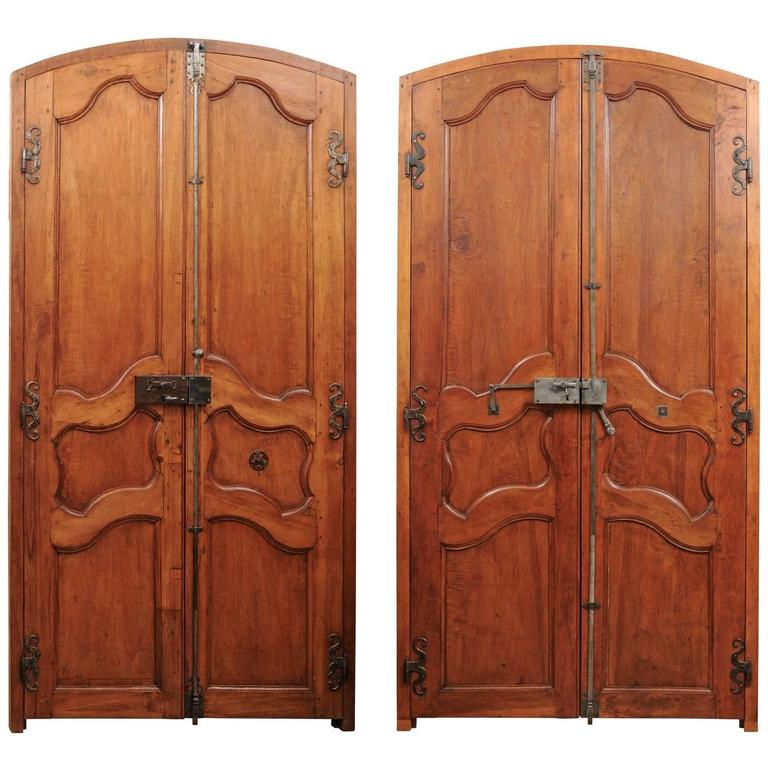 Pair of French Louis XV Style 19th Century Doors in Alder Wood with Custom Frame