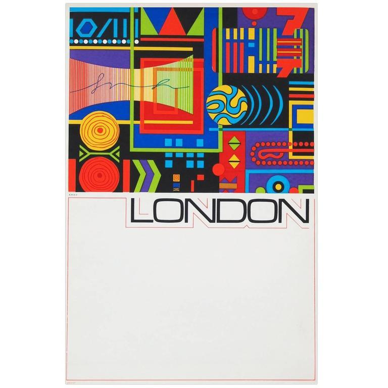 1960s London Travel Poster by GB Karo Pop Art Design