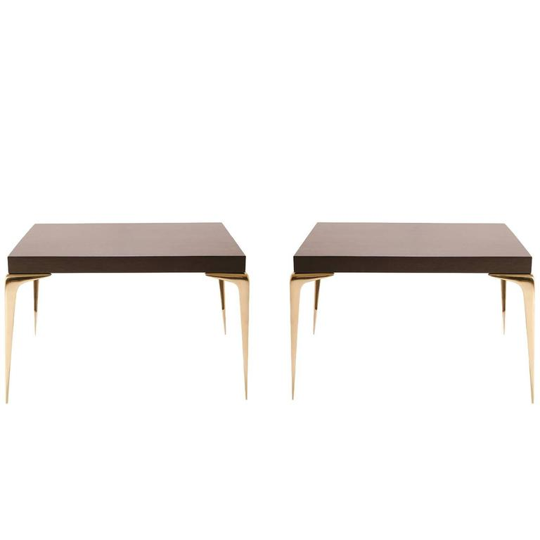 Colette Brass Occasional Tables in Ebony by Montage, Pair For Sale