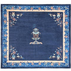 Large Chinese Rug in Sapphire Tones with Ornate Floral Motifs