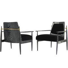 Pair of Scandinavian Modern Armchairs in Black Ceruse