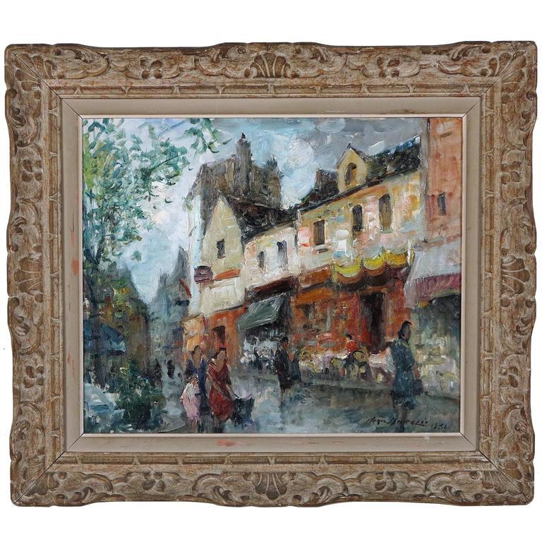 Parisian Street Scene by Merio Ameglio For Sale