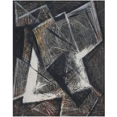 Abstract Painting on Board by Vernon Smith, 1954