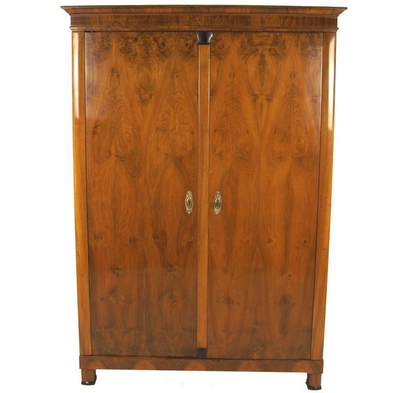 Biedermeier Period Cupboard, circa 1830 Walnut-Tree Veneered