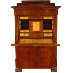 Biedermeier Period Secretary, circa 1830, North Germany, Mahogany Veneered