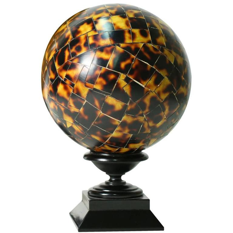 Breathtaking 'Tortoiseshell' Wood Mosaic Sphere 1
