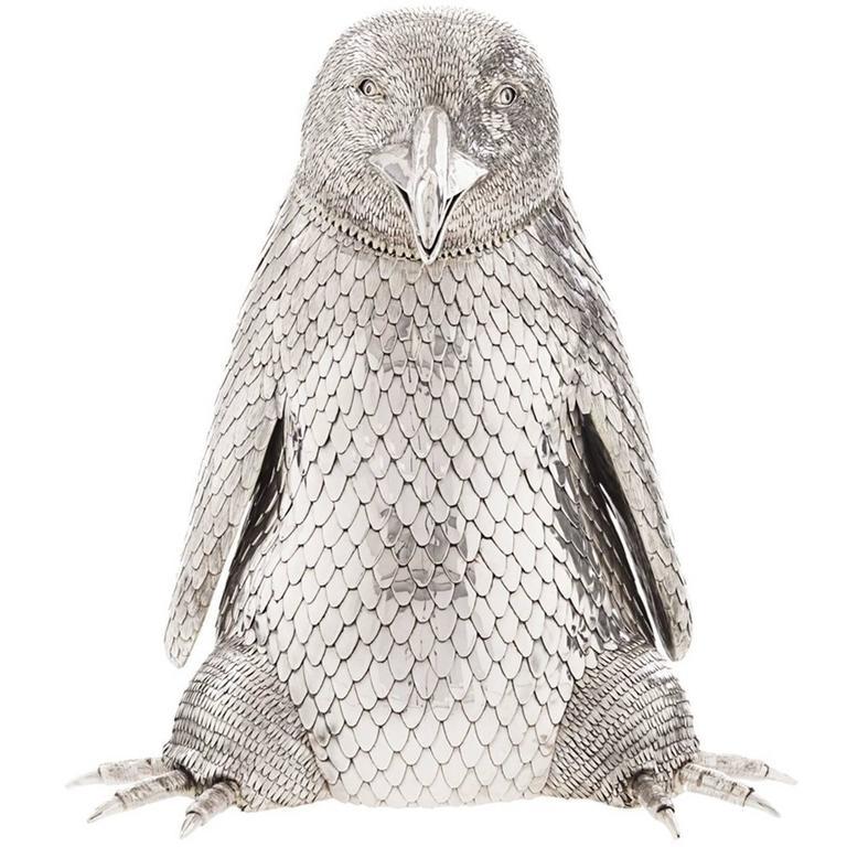 Sterling Silver Penguin Champagne Bottle Holder
