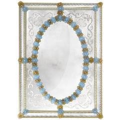 San Marco Mirror With Amber And Blue Flowers