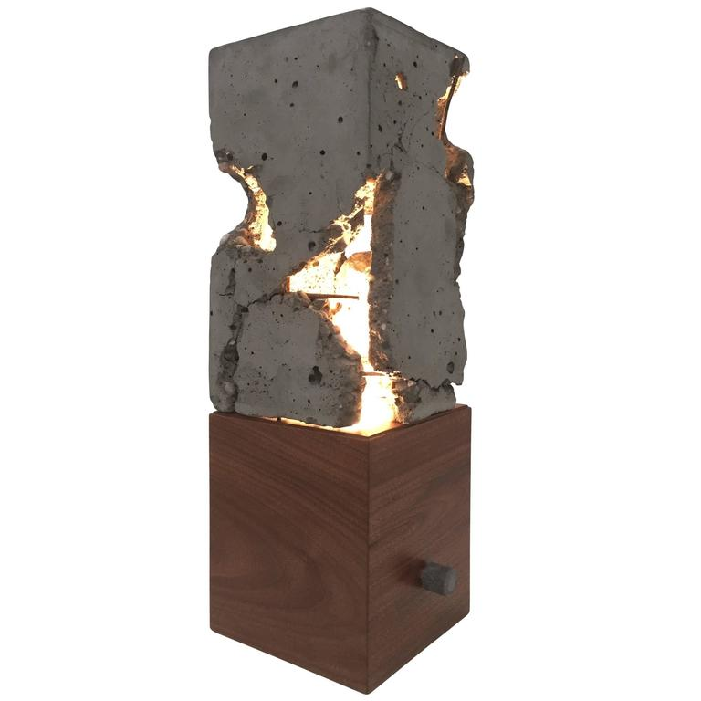 "Fractured Cast-Concrete ""Scarpa Light"" Solid Walnut or Blackened Steel Base For Sale"