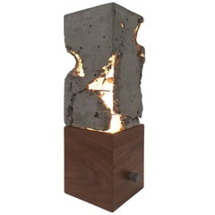 "Fractured Cast-Concrete ""Scarpa Light"" Solid Walnut or Blackened Steel Base"