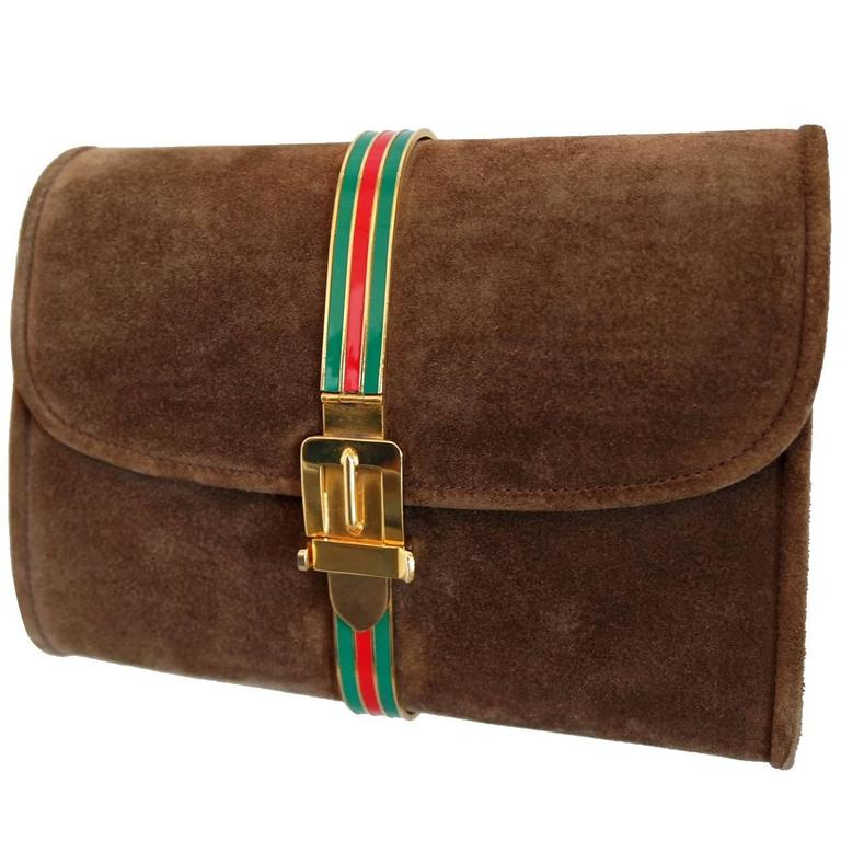 Vintage Brown Suede and Enamel Gucci Clutch 1