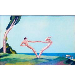 """Dance by the Sea,"" Stunning, Sun-Drenched French Art Deco Painting"