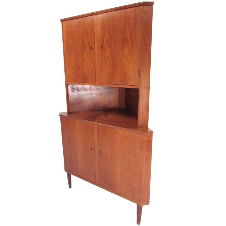 Mid century modern danish teak corner cabinet for sale at for Modern teak kitchen cabinets
