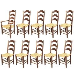 Set of Moustache Ladder Back Chairs