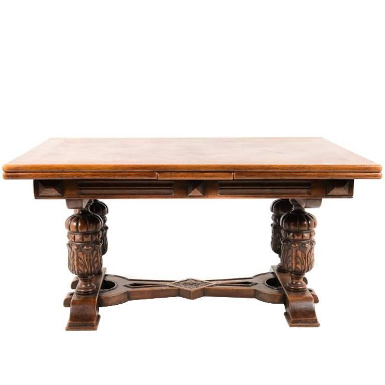 French Carved Draw Leaf Table, Circa 1940s 1