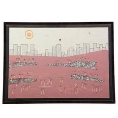Omar Mau Cityscape Painting, Signed, with Custom Mirror Chrome Frame