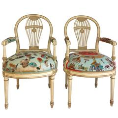 Pair of Maison Jansen Balloon Back French Armchairs in Hermes Silk, 1930s