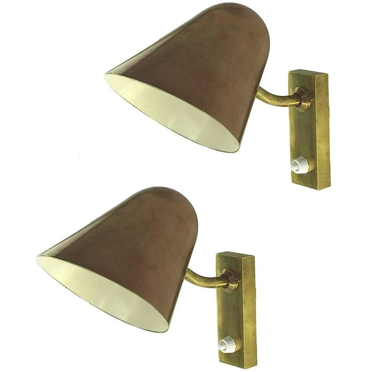 Pair of 1940 Copper and Bronze Sconces in the Style of Carl-Axel Acking