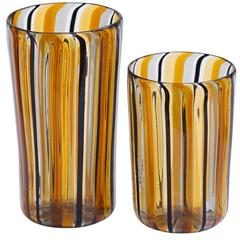 Set of Six Water and Wine Amber Glasses