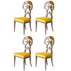 Set of 4 Seats Biedermeier Style