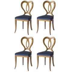 Set of Four Seats Biedermeier Style Sedi Vener