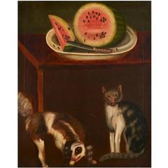 Still Life Folk Painting with Cat, Dog and Watermelon