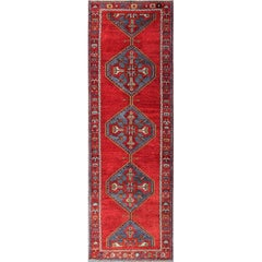 Colorful Turkish Oushak Runner in Various Shades of Red, Blue, and Yellow
