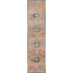 Turkish Oushak Runner with Multi-Medallions and Tribal Motifs in Brown and Red