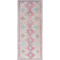 Turkish Tulu Runner with Seven Geometric Medallions in Light Red and Green