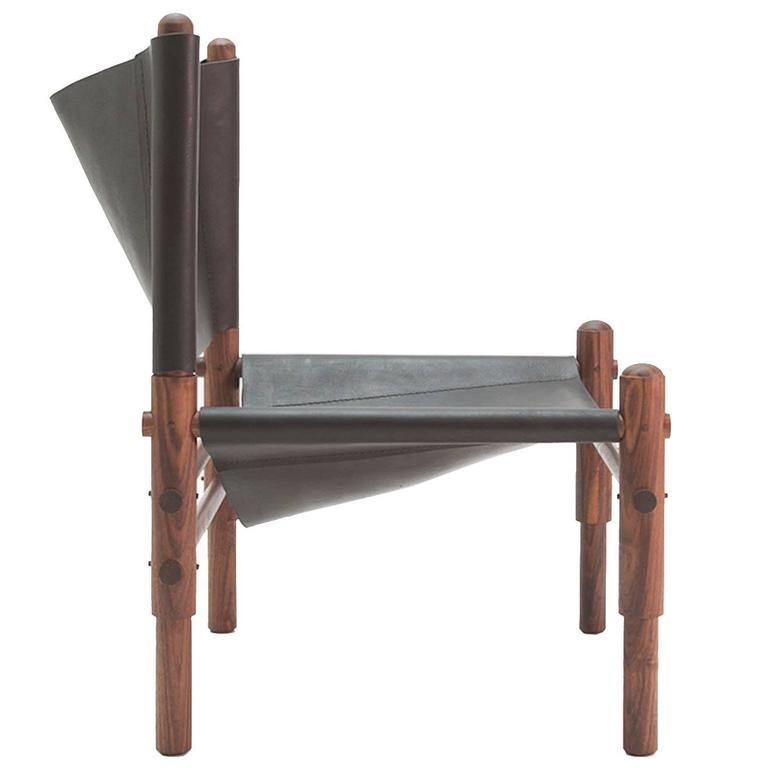 Workstead Sling Chair in Walnut and Black Leather