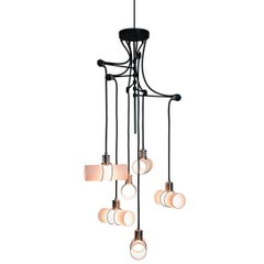 Customizable Pendant 875 Chandelier in Frosted Glass and Brass Body