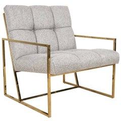 Mid-Century Modern Style Accent Chair in Textured Neutral Linen w/ Brass Frame