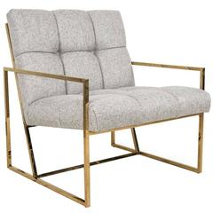 Mid-Century Modern Style Accent Chair in Textured Neutral Linen w/ Brass Frame