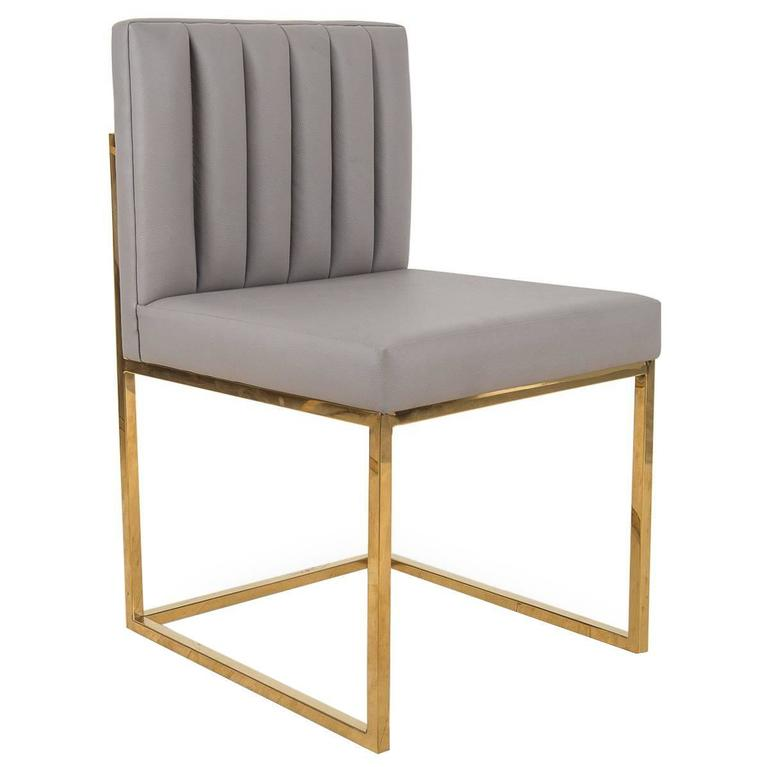 Amazing Mid Century Style Dining Chair W Faux Leather Long Arm Tufting Brass Frame Ibusinesslaw Wood Chair Design Ideas Ibusinesslaworg