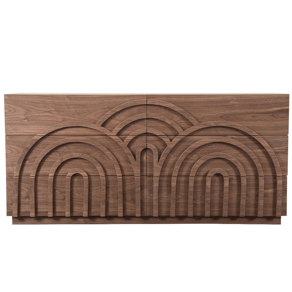 Art Deco Style Six-Drawer Storage Dresser in Walnut with Arch Detail