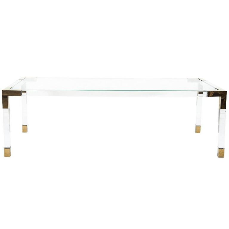 Mid-Century Modern Style Lucite Dining Table w/ Brass Accents and Glass Top