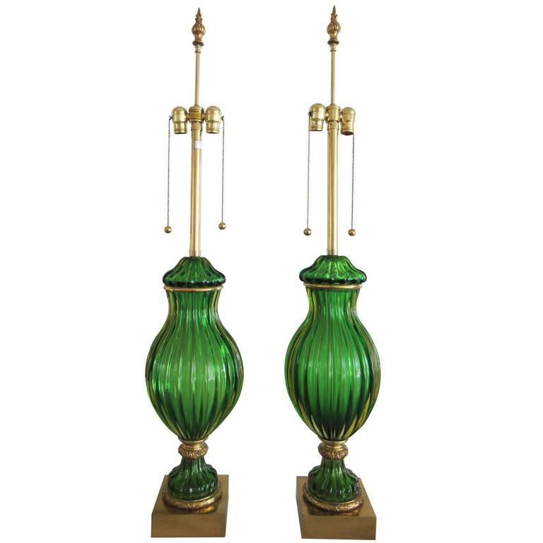 Large Pair of Vintage Green Murano Glass Marbro Lamps For Sale