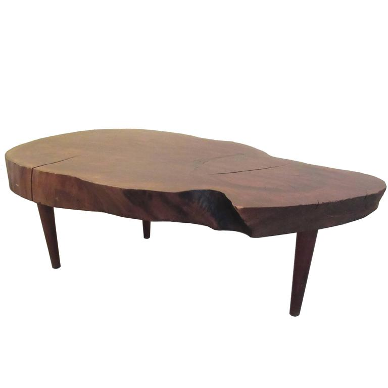 Tree Trunk Slab Tripod Coffee Table In The Style Of