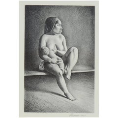 Rockwell Kent Pencil Signed Lithograph, 1934, Greenland Mother, Nursing Child